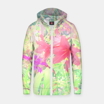 Red lilies in the garden Zip up hoodie thumbnail image