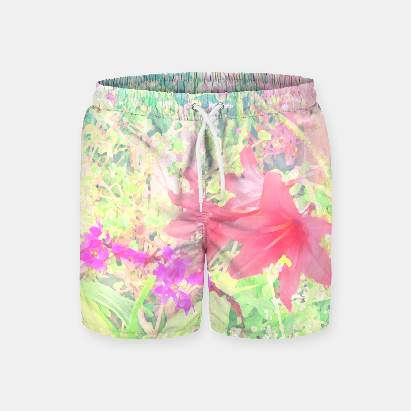 Image of Red lilies in the garden Swim Shorts - Live Heroes