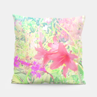 Thumbnail image of Red lilies in the garden Pillow, Live Heroes