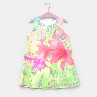 Red lilies in the garden Girl's summer dress thumbnail image