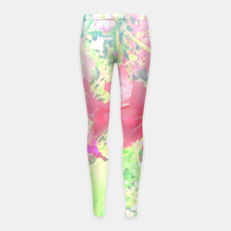 Thumbnail image of Red lilies in the garden Girl's leggings, Live Heroes