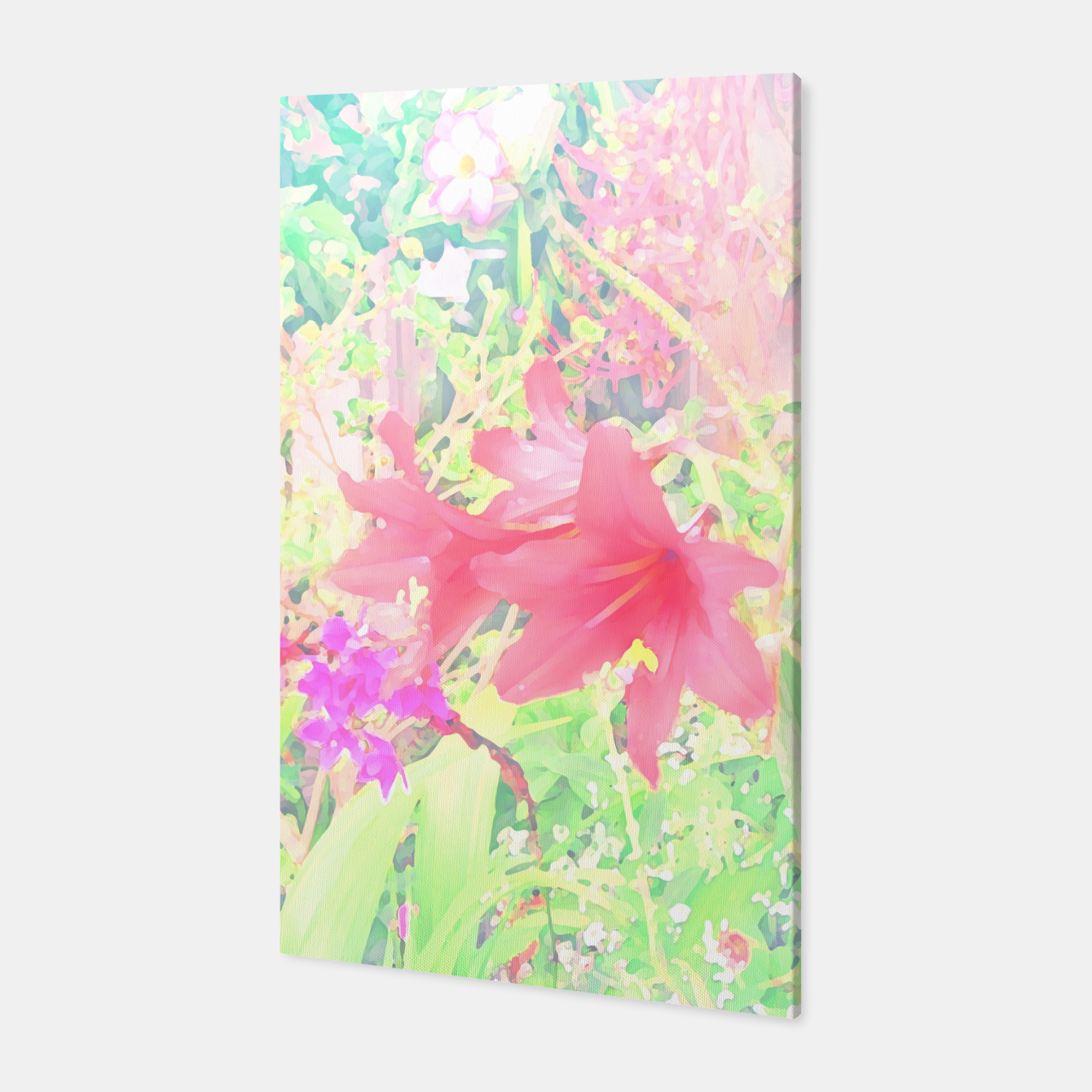 Image of Red lilies in the garden Canvas - Live Heroes