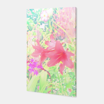 Red lilies in the garden Canvas thumbnail image