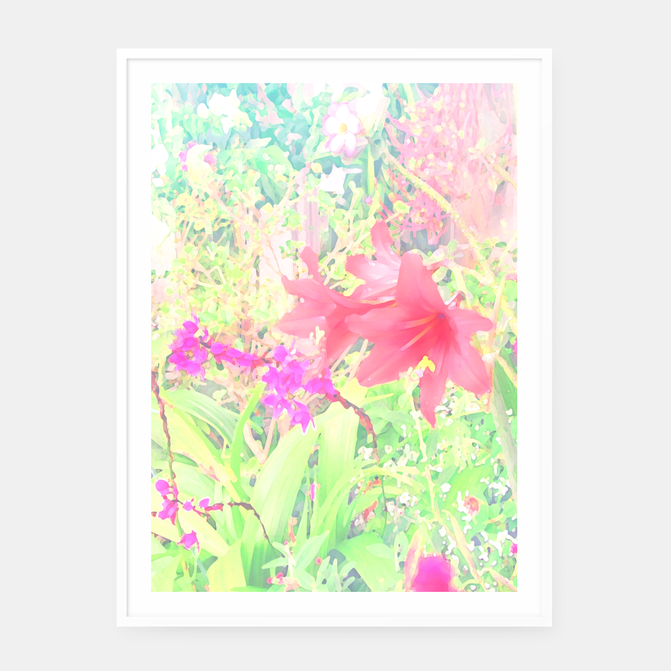 Image of Red lilies in the garden Framed poster - Live Heroes