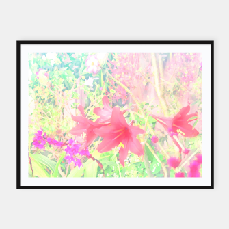 Thumbnail image of Red lilies in the garden Framed poster, Live Heroes