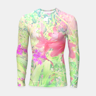 Thumbnail image of Red lilies in the garden Longsleeve rashguard , Live Heroes