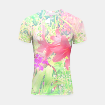 Thumbnail image of Red lilies in the garden Shortsleeve rashguard, Live Heroes