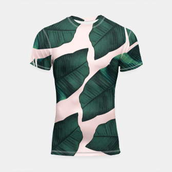 Thumbnail image of Tropical Blush Banana Leaves Vibes #2 #decor #art  Shortsleeve rashguard, Live Heroes