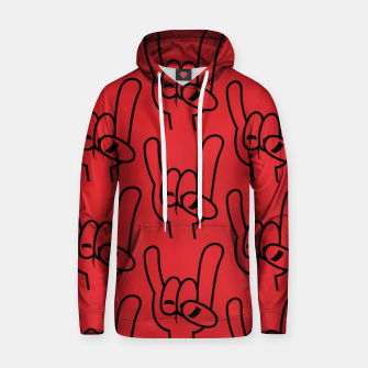 Thumbnail image of Heavy Metal Devil Horns Pattern Black Line Hoodie, Live Heroes