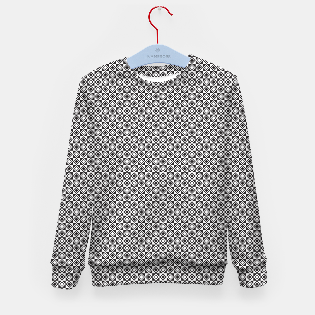 Zdjęcie Checkered Shapes Pattern I Kid's sweater - Live Heroes