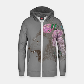 Thumbnail image of Floral Lion Zip up hoodie, Live Heroes