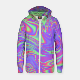 Thumbnail image of Liquid iridescent rainbow texture Zip up hoodie, Live Heroes