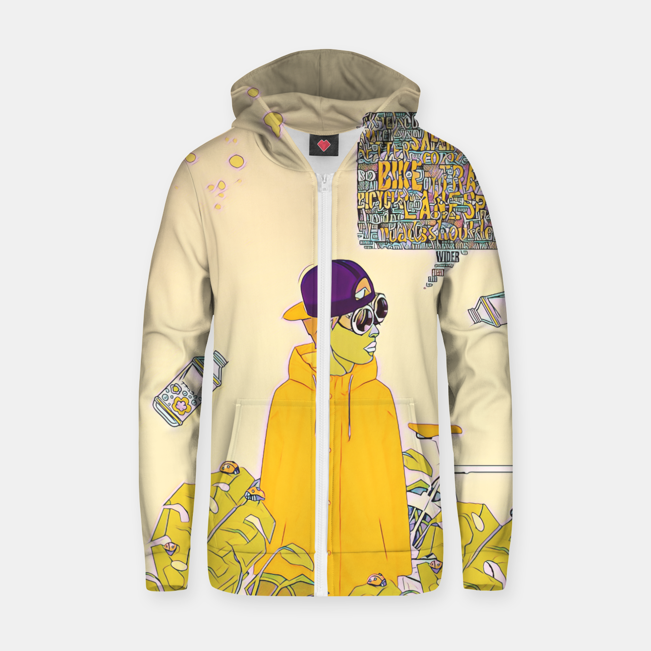 Image of Floral bike Zip up hoodie - Live Heroes