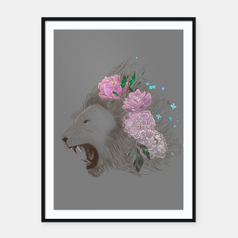 Thumbnail image of Floral Lion Framed poster, Live Heroes