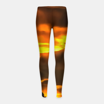 Thumbnail image of cloudy burning sky reacstd Girl's leggings, Live Heroes