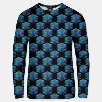 Thumbnail image of Aqua blue sparkles diamond geometric pattern on black Unisex sweater, Live Heroes