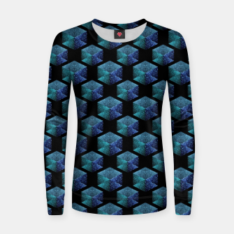 Thumbnail image of Aqua blue sparkles diamond geometric pattern on black Women sweater, Live Heroes