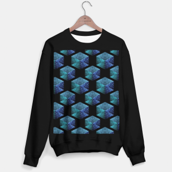 Thumbnail image of Aqua blue sparkles diamond geometric pattern on black Sweater regular, Live Heroes