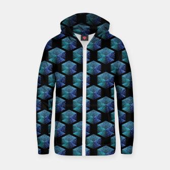 Aqua blue sparkles diamond geometric pattern on black Zip up hoodie thumbnail image