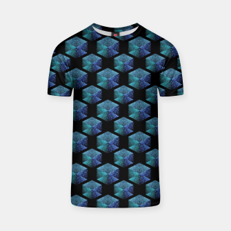 Miniaturka Aqua blue sparkles diamond geometric pattern on black T-shirt, Live Heroes