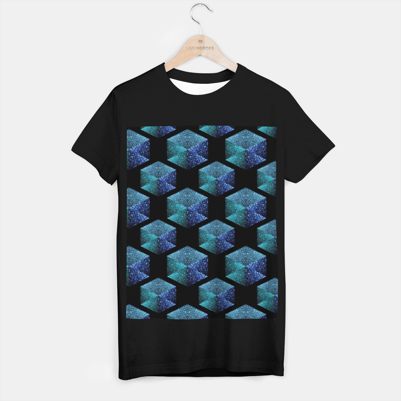 Image of Aqua blue sparkles diamond geometric pattern on black T-shirt regular - Live Heroes