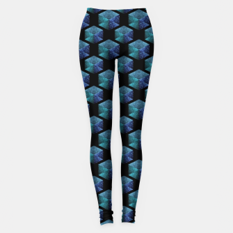 Aqua blue sparkles diamond geometric pattern on black Leggings thumbnail image