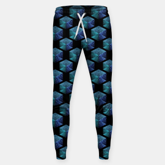 Aqua blue sparkles diamond geometric pattern on black Sweatpants thumbnail image