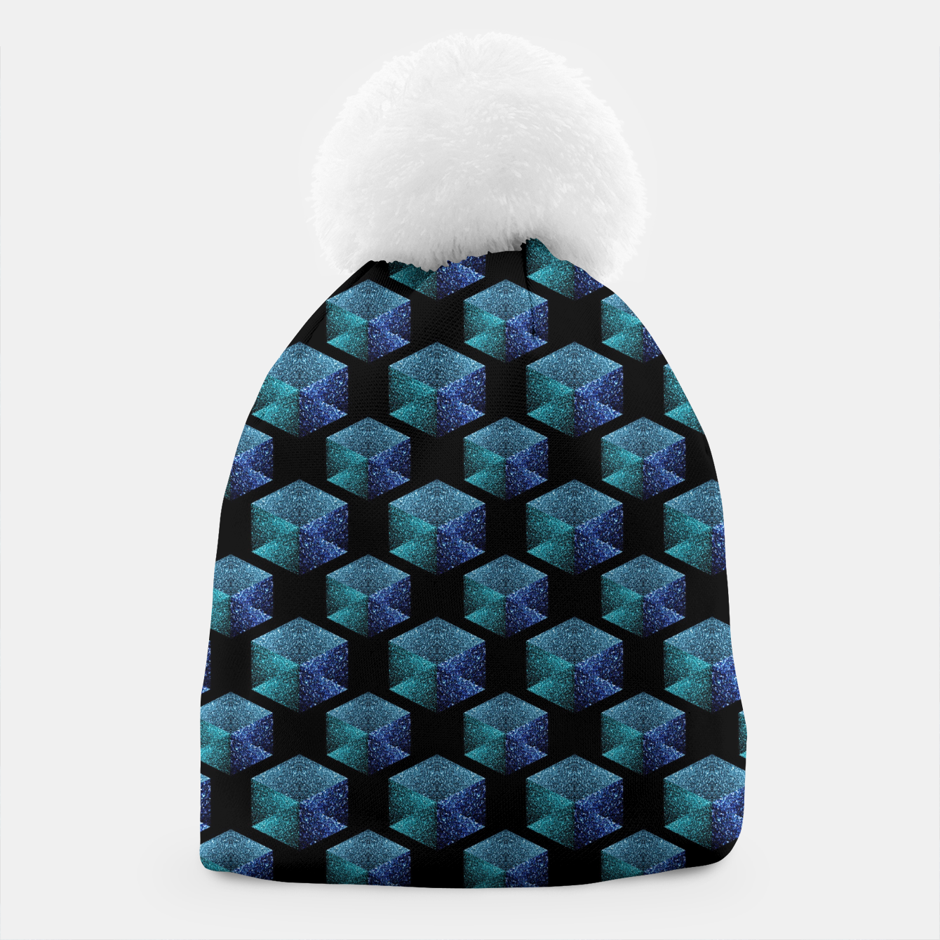 Image of Aqua blue sparkles diamond geometric pattern on black Beanie - Live Heroes