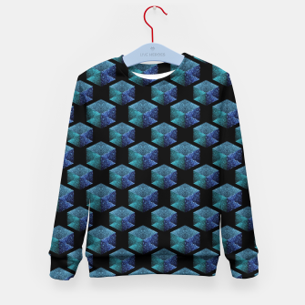 Miniaturka Aqua blue sparkles diamond geometric pattern on black Kid's sweater, Live Heroes