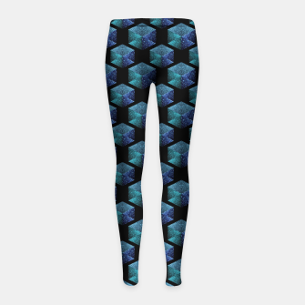 Thumbnail image of Aqua blue sparkles diamond geometric pattern on black Girl's leggings, Live Heroes