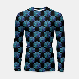 Thumbnail image of Aqua blue sparkles diamond geometric pattern on black Longsleeve rashguard , Live Heroes