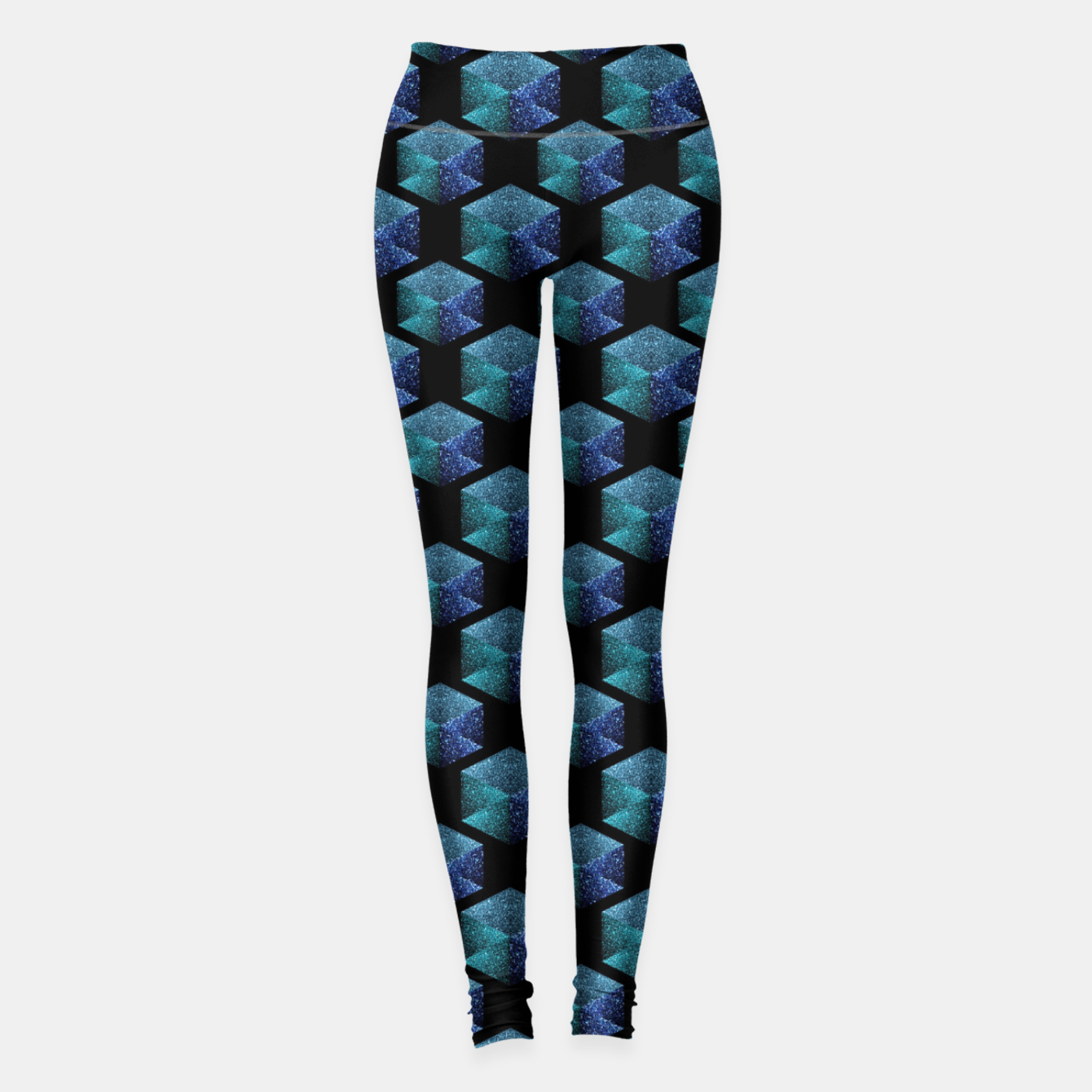 Image of Aqua blue sparkles diamond geometric pattern on black Leggings - Live Heroes