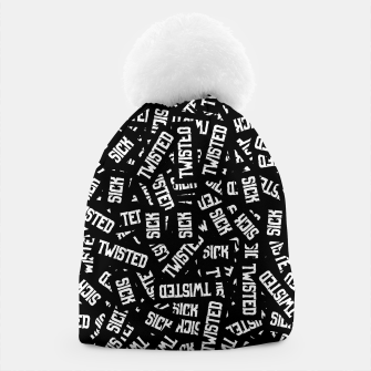 Miniatur Sick & Twisted - Spooky black and white goth text pattern Beanie, Live Heroes