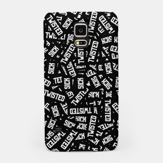 Miniatur Sick & Twisted - Spooky black and white goth text pattern Samsung Case, Live Heroes