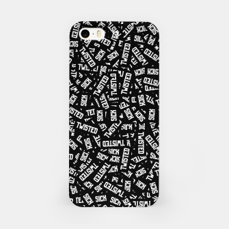 Miniatur Sick & Twisted - Spooky black and white goth text pattern iPhone Case, Live Heroes