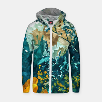 Thumbnail image of Dark & Floral Zip up hoodie, Live Heroes