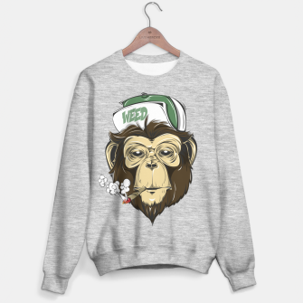 Thumbnail image of Roll one Smoke one, Even Monkeys Loves Weed Sweater regular, Live Heroes