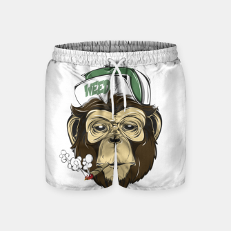 Thumbnail image of Roll one Smoke one, Even Monkeys Loves Weed Swim Shorts, Live Heroes