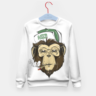 Thumbnail image of Roll one Smoke one, Even Monkeys Loves Weed Kid's sweater, Live Heroes
