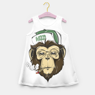 Thumbnail image of Roll one Smoke one, Even Monkeys Loves Weed Girl's summer dress, Live Heroes