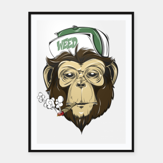 Thumbnail image of Roll one Smoke one, Even Monkeys Loves Weed Framed poster, Live Heroes