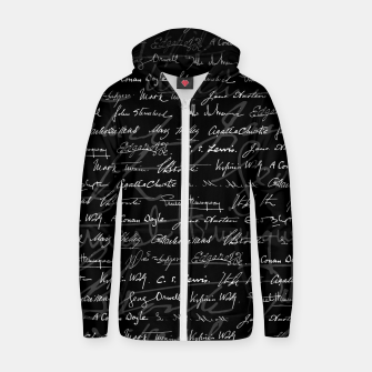 Literary Giants Signatures Pattern Zip up hoodie thumbnail image