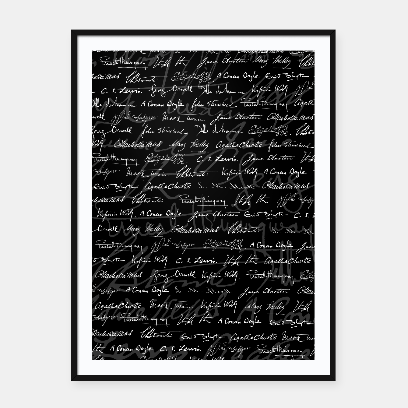 Image of Literary Giants Signatures Pattern Framed poster - Live Heroes