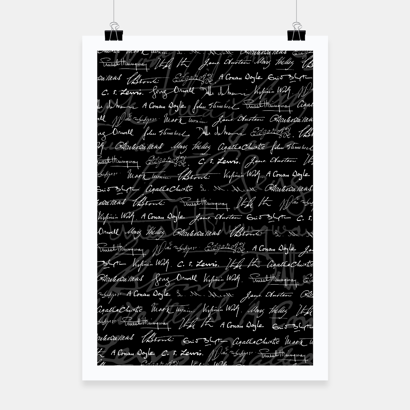 Image of Literary Giants Signatures Pattern Poster - Live Heroes