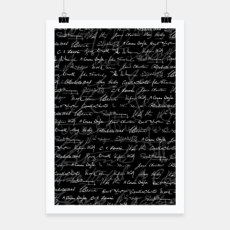 Thumbnail image of Literary Giants Signatures Pattern Poster, Live Heroes