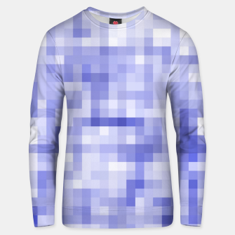 Miniatur geometric square pixel pattern abstract background in blue Unisex sweater, Live Heroes