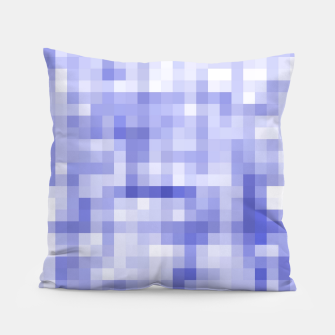 Thumbnail image of geometric square pixel pattern abstract background in blue Pillow, Live Heroes