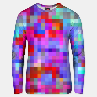Miniatur geometric square pixel pattern abstract background in pink blue purple Unisex sweater, Live Heroes