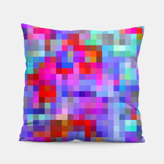 Thumbnail image of geometric square pixel pattern abstract background in pink blue purple Pillow, Live Heroes