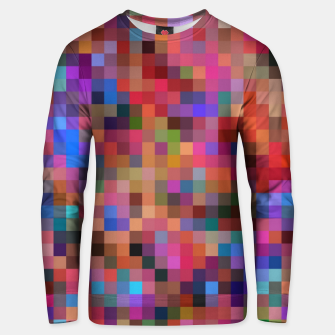 Miniatur geometric square pixel pattern abstract background in pink blue orange purple Unisex sweater, Live Heroes